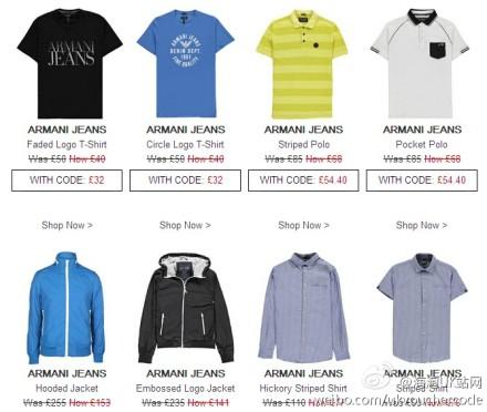 【Armani Jeans】阿玛尼 AJ 全线Up to 55%OFF+今天限时折上20%OFF