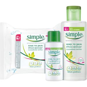 【Simple】清妍卸妆水+洁面乳+保湿乳液清洁套装20%OFF