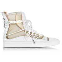 【DSQUARED】D二次方裸色网格和白色皮革高帮Riri运动鞋60%OFF+20%OFF,¥2033到手价